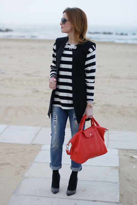 313fbe8f1fa Longchamp bag, boyfriend jeans and stripes | Fashion and Cookies ...