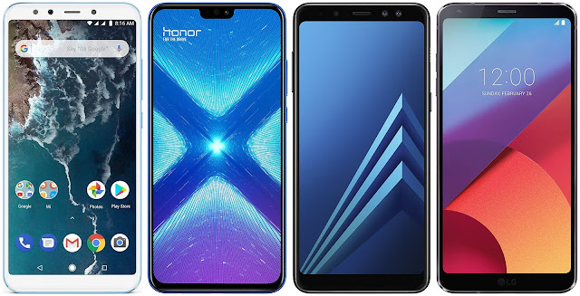 Xiaomi Mi A2 128G vs Honor 8X 64 GB vs Samsung Galaxy A8 (2018) vs LG G6
