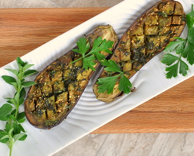 Roasted Baby Eggplant Halves with Herbs, another Easy Summer vegetable recipe @ AVeggieVenture.com. Vegan. Low Carb. WW4.