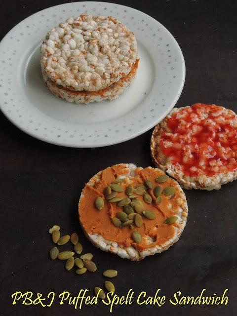 Peanut Butter & Jam Puffed Spelt Cake sandwich