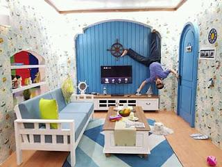 Ruang Tamu di Rumah Terbalik, Eco Green Park, Batu
