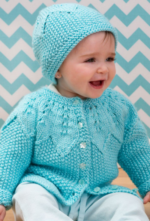 Star Bright Baby Cardigan and Hat - Free Pattern