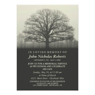Memorial Service Invitation - Tree Silhouette