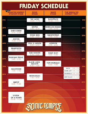 Sonic Temple Art + Music Festival Day 1 headliners System of a Down - Friday,May 17
