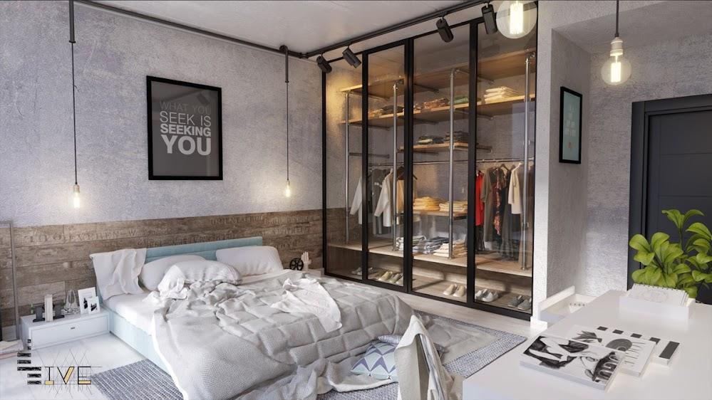 half-concrete-industrial-brick-wall-bedroom