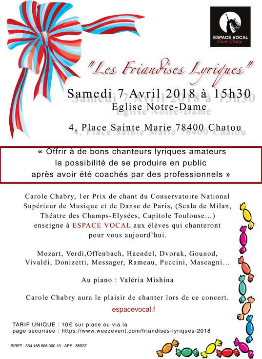 Réservation / Concert Les friandises lyriques 2018