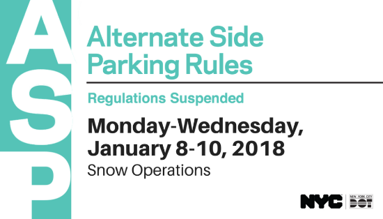 Extension Of Suspension Alternate Side Parking January 8th 9th And 10th