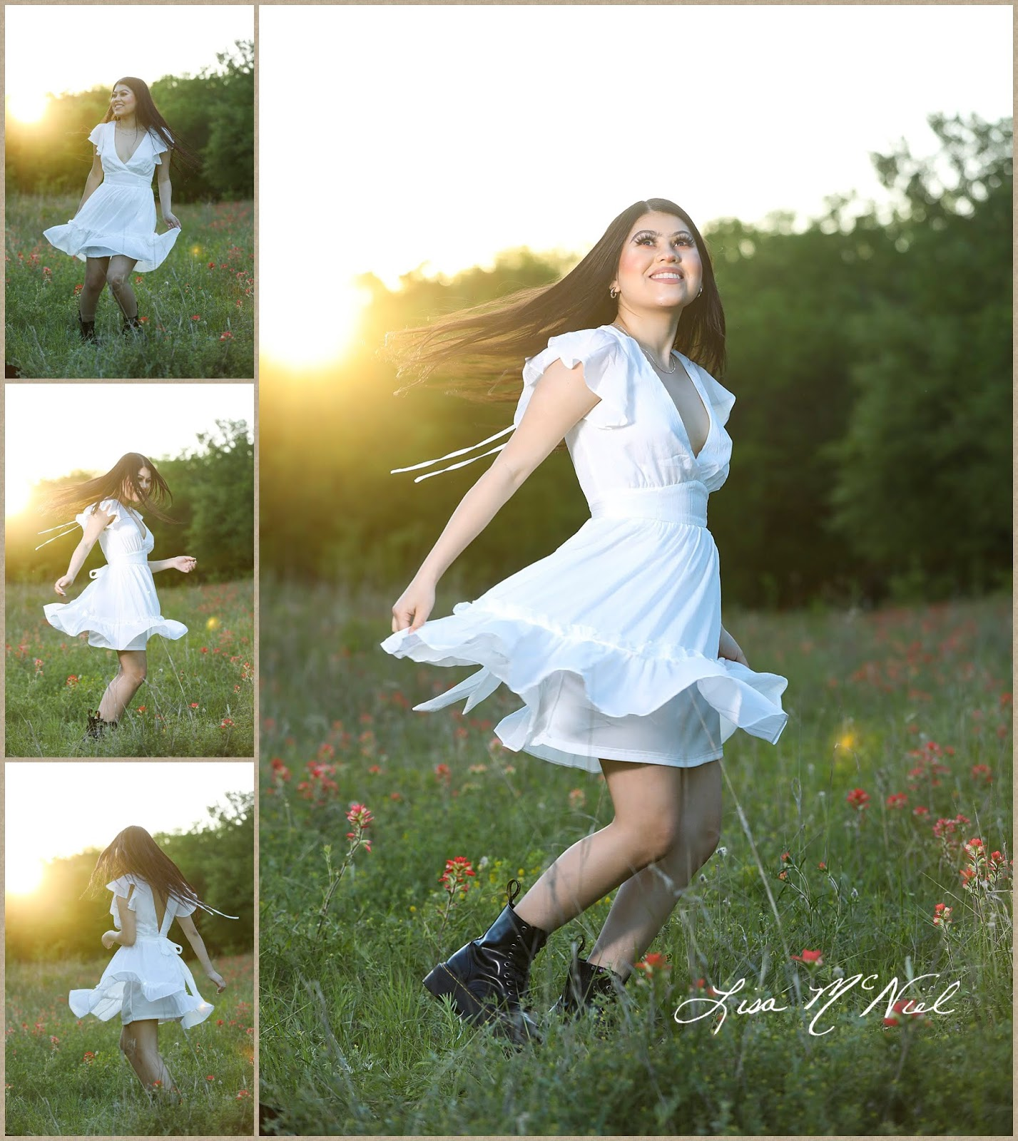 teen girl in white dress in wildflowers spinning