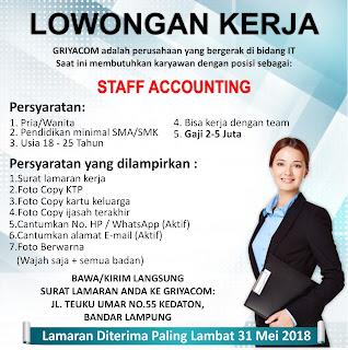 Loker Lampung Terbaru di GRIYACOM Bandar Lampung Mei 2018