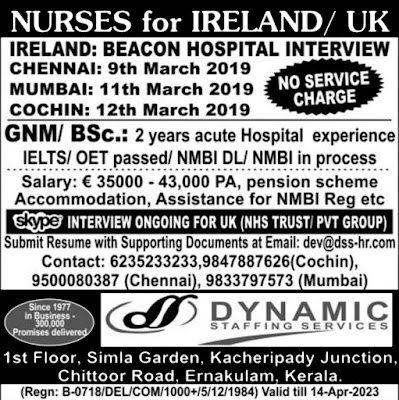 Dynamic Staffing Services, Chennai Interviews, Mumbai Interviews, Kochi Interviews, B.Sc Nurse, GNM Nurse, Nursing Jobs, Ireland Jobs, United Kingdom Jobs