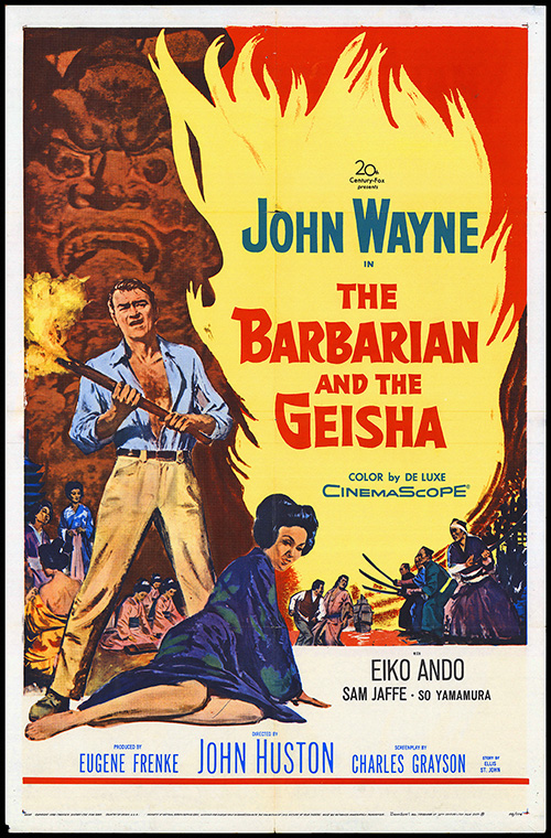 John Wayne, The Barbarian and the Geisha - Vintage Classic Poster, classic posters, free download, free posters, free printable, graphic design, movies, printables, retro prints, theater, vintage, vintage posters, vintage printables, western