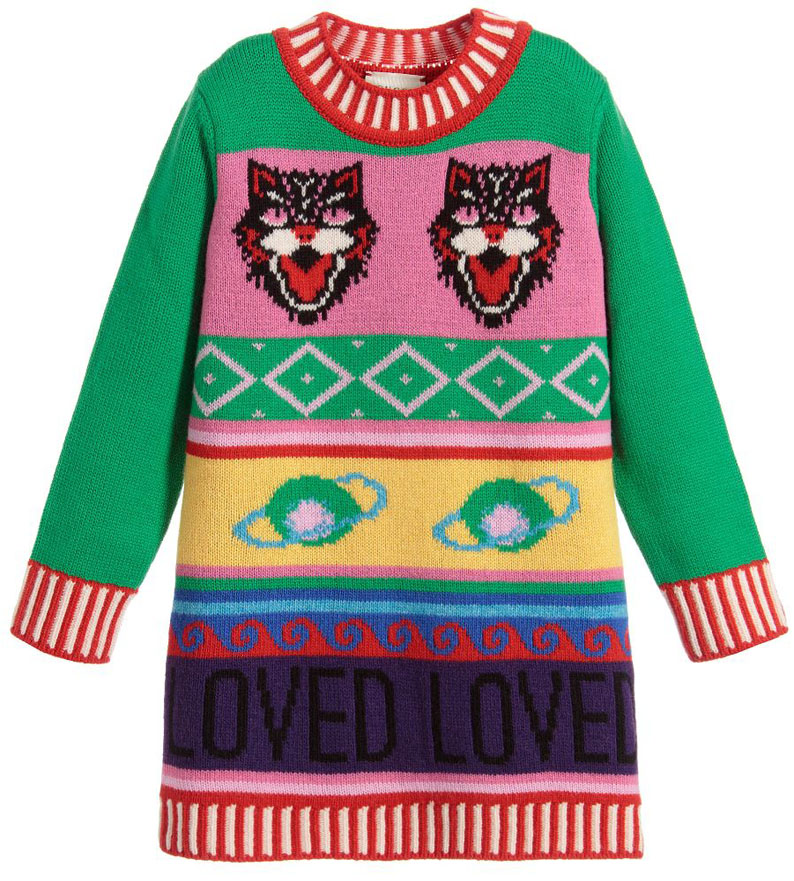 cea4faef2f5d Brilliantly adapted from the pre-fall 2017 womenswear version, this  brightly coloured Mini-me sweater dress from Gucci captures the fashion  house's creative ...