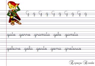 caderno de caligrafia letra G