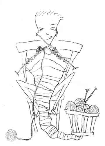 Nora Thompson: Sketchbook Project 2012—Knitter sketch #