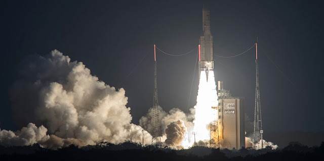 Liftoff of Ariane 5 on Flight VA235 with SKY Brasil-1 and Telkom 3S satellites. Photo Credit: S. Martin / ESA / CNES / Arianespace