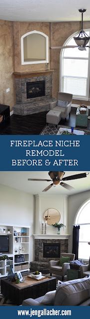 Fireplace niche design covered after photo from www.jengallacher.com. #fireplace #niche #fireplaceniche #fireplacemakeover #fireplaceremodel