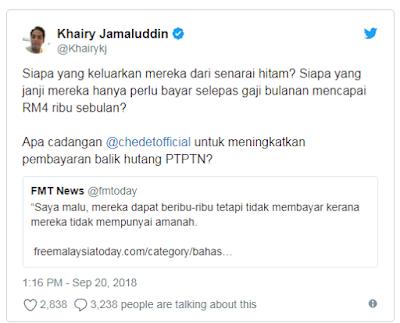 Khairy Jamaluddin Tibai Pakatan Harapan Isu PTPTN
