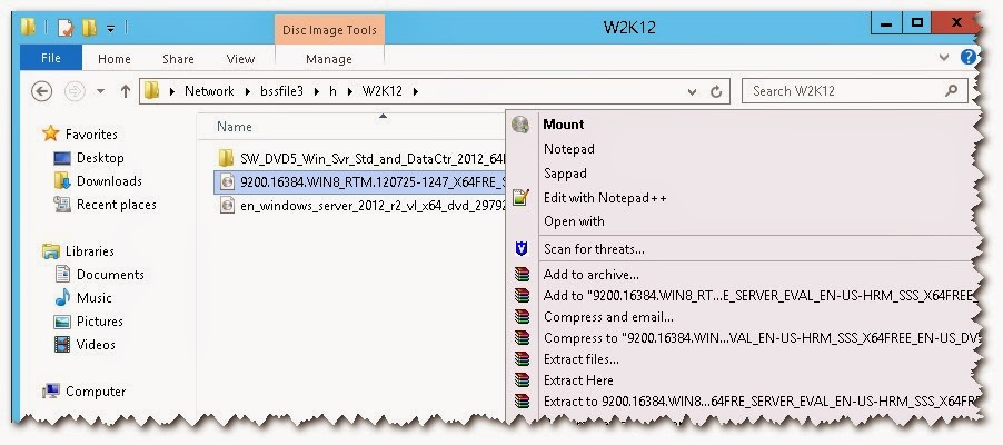 Microsoft: How to mount ISO image in Windows 2012 server and