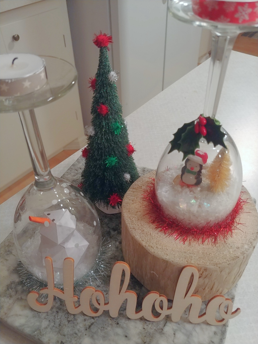 snow globes from wine glasses