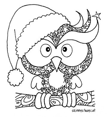Christmas owl coloring page 6