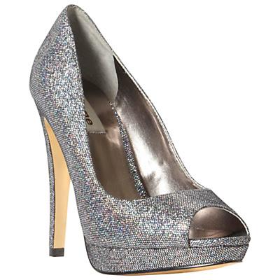 Silver Court Shoes Block Heel