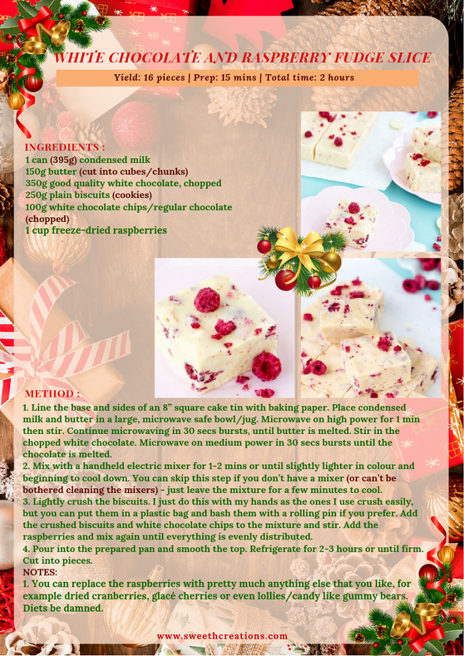 WHITE CHOCOLATE AND RASPBERRY FUDGE SLICE RECIPE