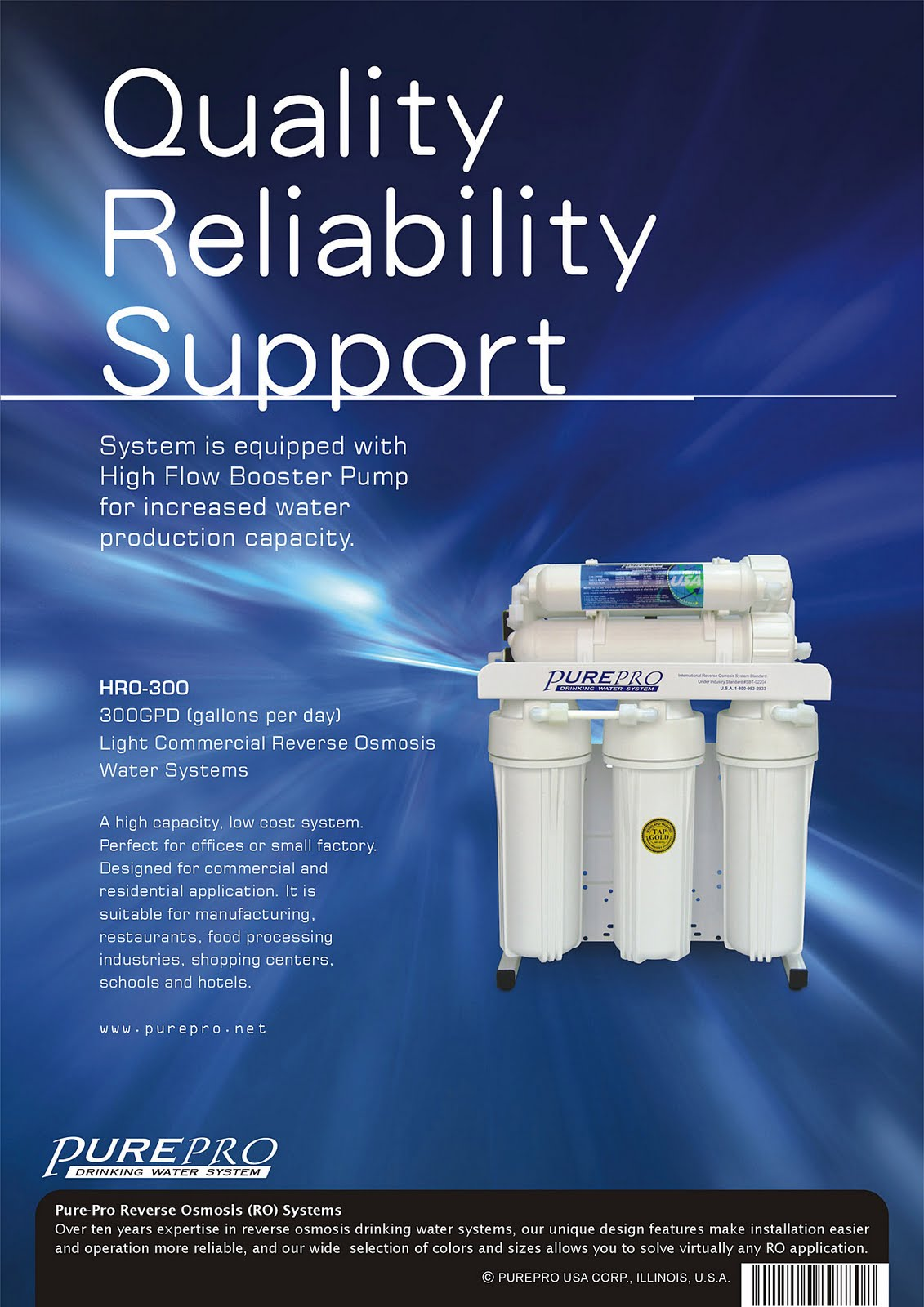 PurePro® HRO300 Light Commercial Reverse Osmosis Water System