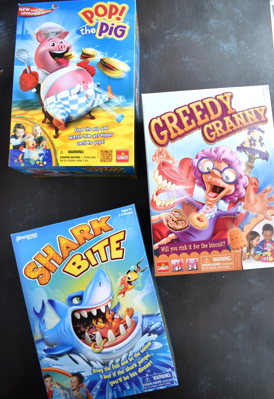 Goliath Games including Greedy Granny, Pop the Pig, Shark Bite