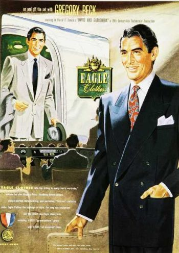 1950's men's suit image with gregory peck