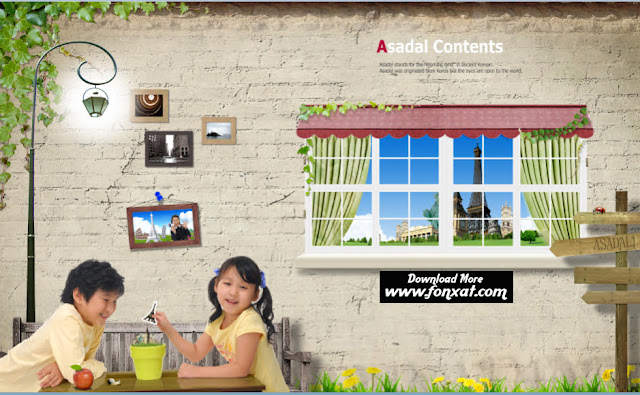 FREE PSD DOENLOAD : Window and pictures on the wall