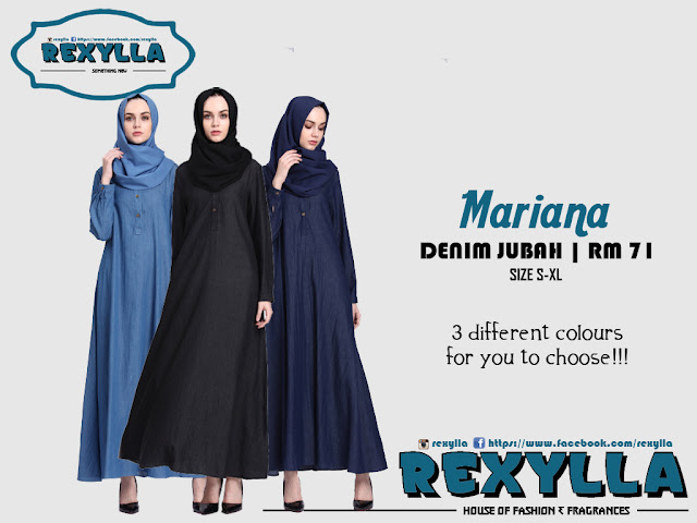 rexylla, denim button, denim jubah, button jubah, mariana collection