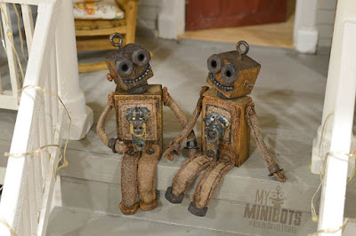 My Minibots on a vintage doll house porch - Robin Davis Studio