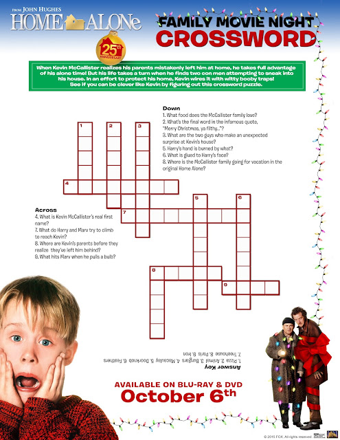 Home Alone Crossword Printable