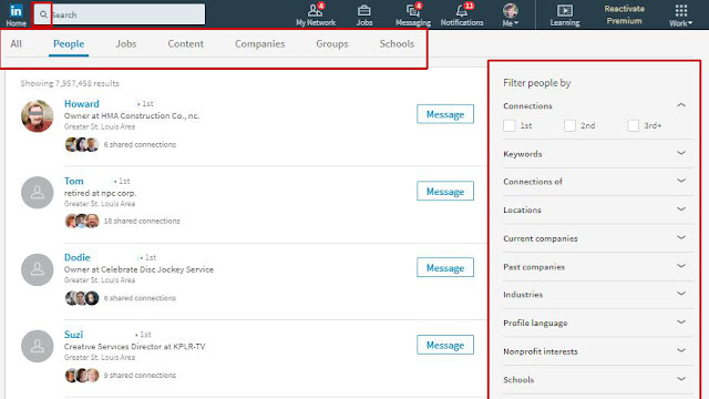 Advanced search filters using LinkedIn advanced search
