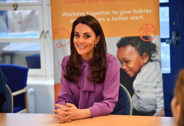 The Duchess of Cambridge- Kate Middleton, wore a new pussy-bow-silk-crepe blouse by GUCCI