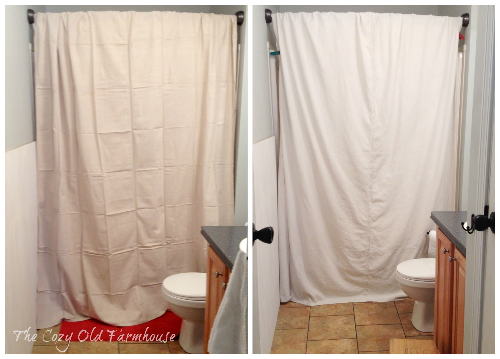 Bathroom curtains from walmart - The Cozy Old Farmhouse Painter S Dropcloth Becomes Diy Grain Sack Shower Curtain