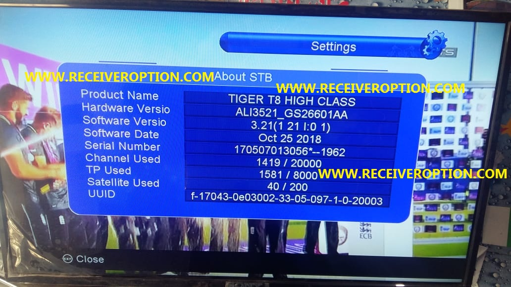 TIGER T8 HIGH CLASS HD RECEIVER AUTO ROLL POWERVU KEY NEW
