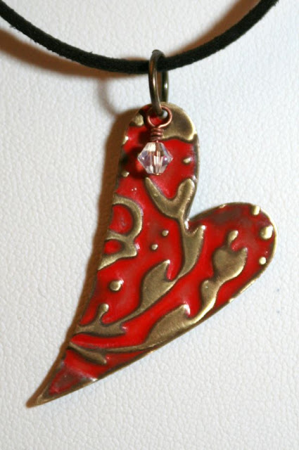 Of Brass and Colours: Red Heart ~ Vintaj natural brass components, ColorMeThis! patina, swarovski crystals, leather, brass wire, embossed, metal work, wire wrapping, ooak jewelry, ooak necklaces :: All Pretty Things