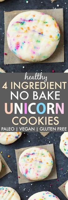 Healthy 4 Ingredient No Bake Unicorn Cookies (Paleo, Vegan, Gluten Free)