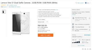 Lenovo Vibe S1 Dual Selfie Camera , 32GB ROM / 3GB RAM (White)