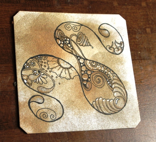 First Zentangle Tile with Distress Inks