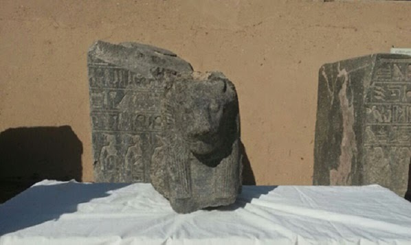 Two black granite busts of Sekhmet unearthed in Luxor