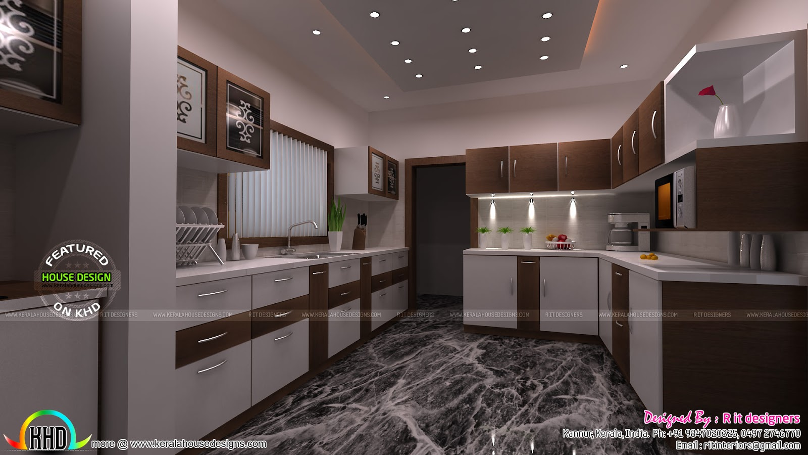 Foyer Plan Kerala : Modular kitchen living bathroom and foyer kerala home