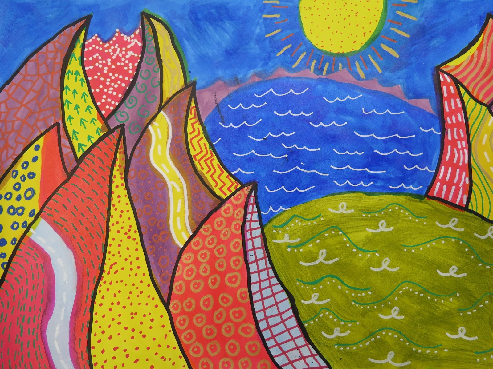 abstract landscapes inspired by david hockney gomersal
