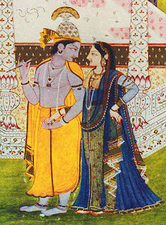 Krishna with Radha, 18th century Rajasthani painting