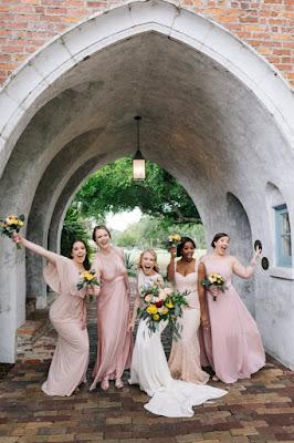 bridal party bridesmaids fun pose