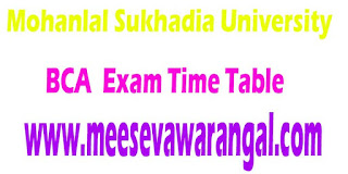 Mohanlal Sukhadia University BCA Part-1/2/ 3 Sept 2016 Exam Time Table