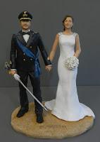 cake topper militare alta uniforme fascia blu sposini realistici orme magiche