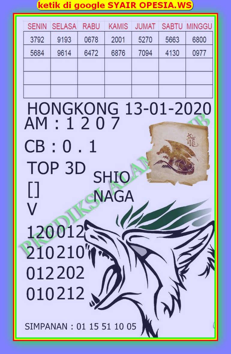 Kode syair Hongkong Senin 13 Januari 2020 141