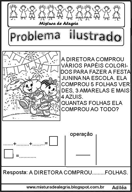 Problemas Ilustrados Para Series Iniciais De Alfabetizacao Mistura De Alegria